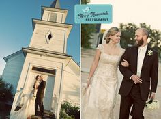 love how the angle is slanted for the couple + chapel