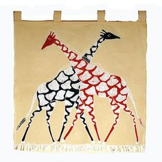 Our African wall hangings are made from cotton, hand painted and therefore unique. This one features a giraffe design on a cream background.