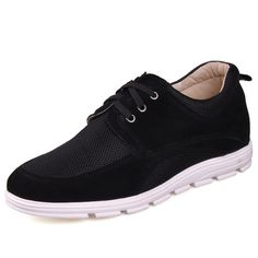 Black  height increasing dress shoes 6.5cm / 2.56inch with the SKU:MENJGL_C166_2 - Black Net Cloth Tall Shoes For Men Increaing Height 6.5cm / 2.5inch Suede Leather Casual Shoes