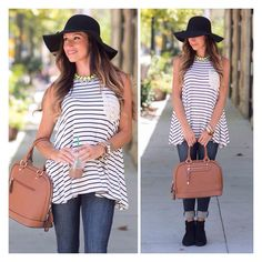 Simple style with our Natalie tank. Because there's never. Enough. Stripes. {link in profile}
