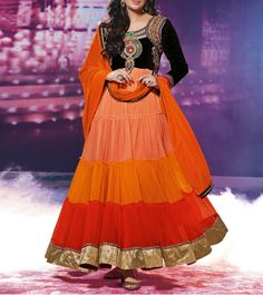 #Orange #Georgette Semi Stitched #Anarkali #Suit  #Navratri #Sale #readytoship Was $130 |  Is $76