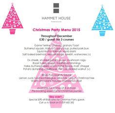 Christmas party menu at Hammet House Pembrokeshire Ceredigion Wales