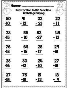 winter subtraction practice for 2nd grade