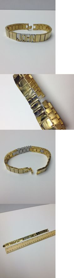 Other Mens Jewelry 177770: John Stainless Steel Gold + Silver Mens Id Name Bracelet Raised Letters New -> BUY IT NOW ONLY: $69.99 on eBay!