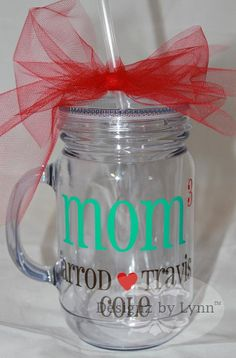 Personalized Mom Mason Jar Tumbler 16 oz. Acrylic