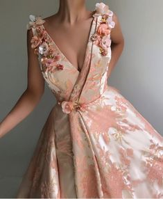 Details - Light pink color - Designed Taft fabric - Embroidery flowers - A-line with V-neck dress style with waist definition - Party and Evening dress Elegant Dresses, Pretty Dresses, Formal Dresses, Prom Dresses Flowers, Maxi Dresses, Floral Evening Dresses, Girls Dresses, Rose Gown, Beautiful Gowns