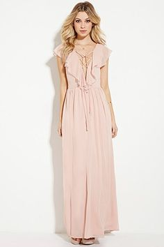 Ruffled Chiffon Maxi Dress | Forever 21 Love this dress, good price, good color, could see Haley or Laken in this