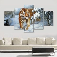 Large Oil Painting Tigers Painting Home Decor on Canvas Modern Wall Art Canvas Print Poster Canvas Painting Unframed 5 Pieces  #prints #printable #painting #canvas #empireprints #teepeat