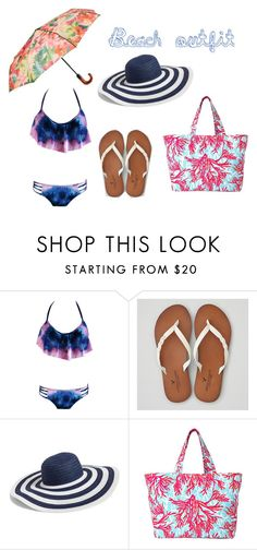 """""""beach outfit"""" by sykesc-1 ❤ liked on Polyvore featuring American Eagle Outfitters, Vera Bradley, Lilly Pulitzer and Patricia Nash"""
