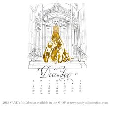 The first SANDY M 2015 Fashion Illustration Calendar is available now! All of the girls in the illustrations are wearing gowns from designer spring summer 2015 collections! December's girl makes quite a statement in gold #stephancaras as she walks down the steps of the golden entrance of the #saintregishotelnyc to slip into her awaiting limousine ✨ CALENDAR AVAILABLE AT www.sandymillustration.com #illustration #fashion #calendar #sandym2015calendar