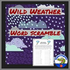 Storms Word Scramble Puzzle - Wild Weather Vocabulary Activity by HappyEdugator Weather Vocabulary, Vocabulary Activities, Vocabulary Words, Weather Lesson Plans, Weather Lessons, Weather Words, English Spelling, Wild Weather, Storms
