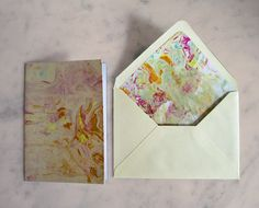 Colorfully marbled greeting cards