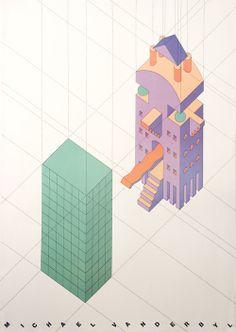 """Postmodern Architecture"" Poster, 1984 — Michael Vanderbyl"