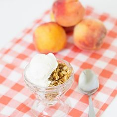 Peach Crisp and Homemade Vanilla Ice Cream
