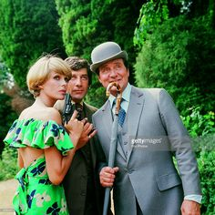 1976: Purdey, Steed and Gambit played by Joanna Lumley, Patrick MacNee and Gareth Hunt, at Pinewood Studios, London, for filming of the television series 'The New Avengers'.