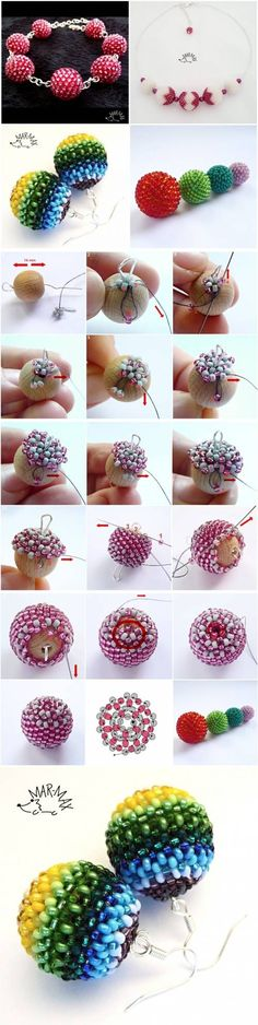 DIY Beaded Bead Earrings (not sure how easy it will be to follow the pix)