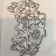 alice in wonderland tattoo sketches Tattoo Sketches, Tattoo Drawings, Body Art Tattoos, New Tattoos, Sleeve Tattoos, Cool Tattoos, Tatoos, Thigh Tattoos, Cupcake Tattoo Designs