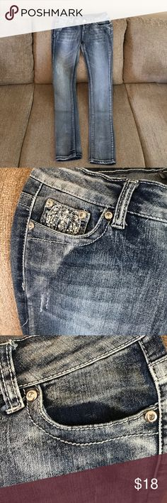 """Jeans Whitewashed jeans blinked pockets in back and front right coin pocket  size 5/6 31"""" length montana jeans Jeans Skinny"""