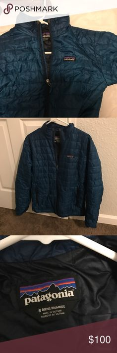 Patagonia Nano Puff Jacket Small Men's Patagonia Nano Puff Jacket. Water resistant and great for spring. Compare here: http://www.patagonia.com/product/mens-nano-puff-jacket/84212.html?dwvar_84212_color=ANDB&cgid=mens-jackets-vests#tile-7=&prefn1=refinementColor&prefn2=size&prefv1=blue&prefv2=S&start=1&sz=24 Patagonia Jackets & Coats Lightweight & Shirt Jackets
