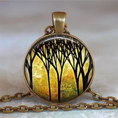 The Golden Grove necklace (Listing 395)  A gorgeous piece of art depicting a magical woodland scene by Madart here on Etsy, and a beautiful gift for the nature lover!  At checkout, you can choose between pendant only, pendant with chain, or key chain with swivel hook (see picture 2 above).  CHAIN OPTIONS: The pretty little cross-link chain shown in pictures 1 and 3 above is available in 6 different lengths (16, 18, 21, 24, 27 and 30) and you can choose your length at checkout. If you would…
