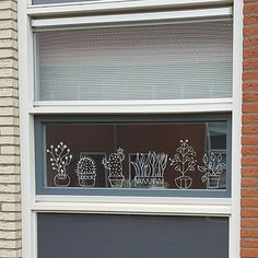 Leuke planten raamtekening, voor als je geen groene vingers hebt, maar wel gek op plantjes bent!