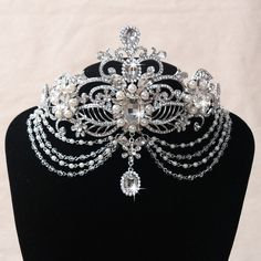 Brand New Wedding Bridal Crystal Rhinestone Pearl Silver Crown Frontlet  Headbands Tiara Headpiece Hair Accessories Prom Jewelry Retail 7e6c06f7ecb8