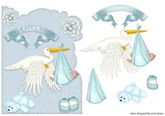 The Stork Brought Boy on Craftsuprint designed by Carol James - A shaped topper. Decoupage pieces for a 3d effect. - Now available for download!