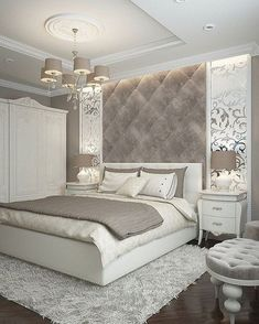 While glittering living rooms and blinding entryways are often the rule, Luxury Master Bedroom interior design is more restrained. Dream Rooms, Dream Bedroom, Home Decor Bedroom, Modern Bedroom, Bedroom Ideas, Bedroom Inspiration, Bedroom Decor Elegant, Budget Bedroom, Pretty Bedroom