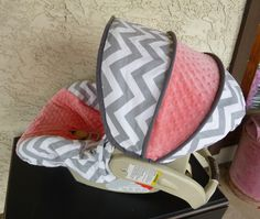 Gray Chevron with Coral Infant Carseat Cover. $65.00, via Etsy.