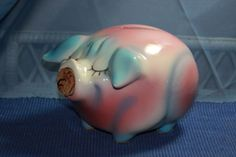 Vintage Hull Pottery Corky Pig Still Piggy Bank Unique Coloring