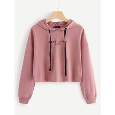 SweatyRocks Pink Women Hoodies Sweatshirt Drop Shoulder Long Sleeve Pullover Autumn Clothes 2018 Letter Print Casual Sweatshirts - pink,s Cute Sweatshirts, Printed Sweatshirts, Sweatshirts Online, Girls Fashion Clothes, Teen Fashion Outfits, Fashion Ideas, Stylish Hoodies, Clothes 2018, Crop Top Hoodie