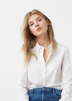 Poplin shirt by Mango. High Street Fashion, Fashion Wear, Fashion Beauty, Moda Mango, Mango Fashion, White Shirts, Her Style, Capsule Wardrobe, Woman Shirt