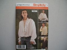 Simplicity 3758 Renaissance Peasant Shirt Misses Mens Teens Size XS-XL Uncut New