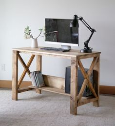 Diy Wood Desk, Wood Computer Desk, Wooden Desk, Diy Desk, Rustic Desk, Farmhouse Table Plans, Farmhouse Furniture, Desk Dimensions, Wood Joints