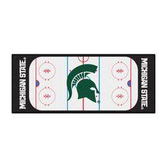 Ncaa - Michigan State University White 2 ft. 6 in. x 6 ft. Indoor Hockey Rink Runner Rug