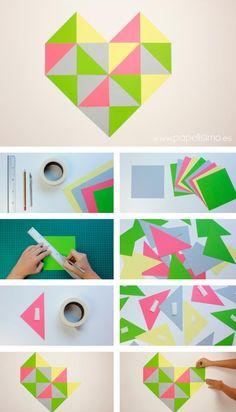 Corazones geométricos con triángulos para decorar (con plantilla) | Aprender manualidades es facilisimo.com