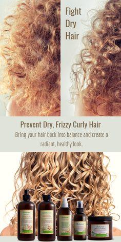Prevent dry frizzy curly hair and bring your hair back into balance. Prevent dry frizzy curly hair a Dry Frizzy Hair, Curly Hair Tips, Curly Hair Styles, Natural Hair Styles, Thin Wavy Hair, Hair Remedies, Hair Shampoo, Hair Health, Fine Hair