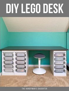 Looking for a desk for your kids that will be used after remote classes are over? This DIY Lego desk gives you tons of Lego storage, and a huge surface for both school work and play! Get the woodworking plans and get building! #lego #woodworking