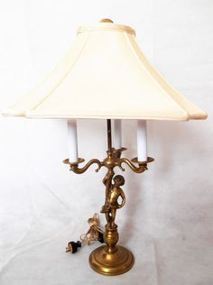 Vintage Bronze Br Cherub 3 Light Table Lamp Made In Portugal