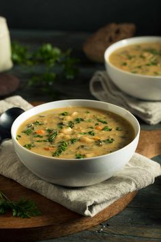 White Bean Soup, White Beans, Bread Appetizers, Gnocchi, Cheeseburger Chowder, Curry, Vegetarian, Lunch, Homemade