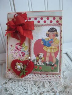 kitschy cottage card- little girl and puppy singing card- blank birthday card- valentine card- handmade card. $8.75, via Etsy.