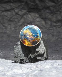 Blue amber ring, The Mysterious World - dark blue Dominican amber round - truly handmade jewelry