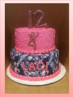 Pink camo cake Camo Birthday Cakes, Camo Cakes, Camo Wedding Cakes, Birthday Ideas, Kylie Birthday, Teen Birthday, Buttercream Decorating, Cake Decorating, Birthday Cake For Daughter