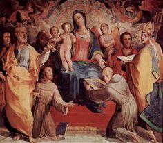 Domenico Beccafumi 017 - Oratorio della Compagnia di San Bernardino - Wikipedia. Beccafumi. Мадонна во славе со святыми. 1518 г.