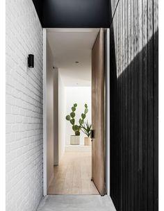 / Australian Interior Design, Interior Design Awards, Coastal Homes, Coastal Living, Interior Architecture, Interior And Exterior, Residential Architecture, Black Cladding, Breeze Block Wall