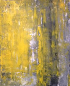 Acrylic Abstract Art Painting Grey, Yellow and White - Modern, Contemporary