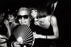 Helena Christensen, Karl Lagerfeld & Anna Wintout, Milan 1994