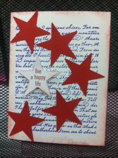 Fourth Of July card.  Used some scraps for the stars. The background stamp is from Stampabilities, it is called Star Spangled Banner and the sentiment is from the Chantilly Scrapbook Workshop stamp set.  http://sharonscraps.ctmh.com