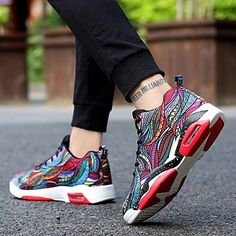 Da uomo scarpe da ginnastica Comoda Autunno Inverno Tessuto Basket Sportivo Casual  Lacci Piatto Nero Rosso 71095324211