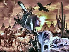 Indian, Wolves & Horses